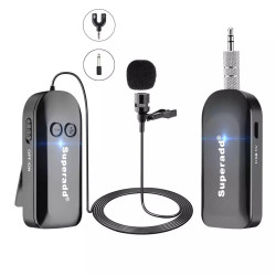 Superadd 2.4G Wireless Lapel Lavalier Microphone, Ideal for Speakers, Fitness, Phones, Cameras